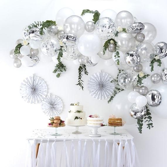 Silver Balloon Garland Kit Wedding Decorations Baby Shower Etsy