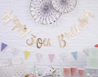 Gold 30th Happy Birthday Banner, Gold 30th Happy Birthday Bunting, Gold 30th Happy Birthday Party Decorations