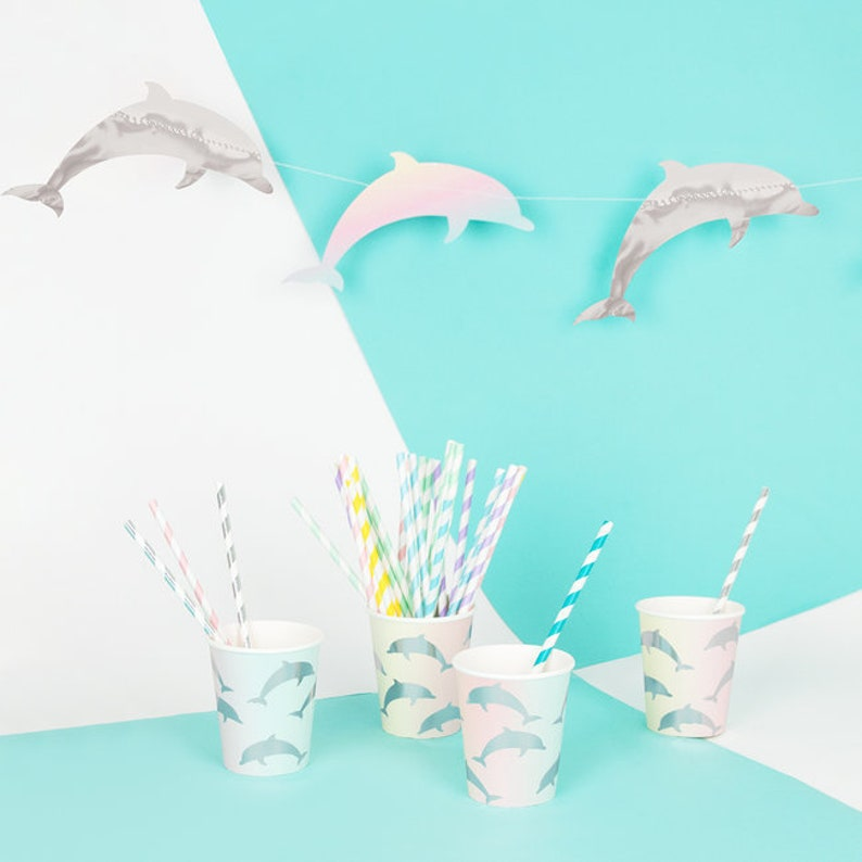 Dolphin Party Bunting Kid/'s Party Children/'s Party 1st Birthday Girls Pastel Rainbow Birthday Party Mermaid Birthday Party Decorations