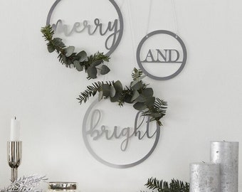 3 Silver Acyrlic Wreaths, Christmas Decorations, Christmas Decorations, Silver Christmas Hoops, Mantelpiece and Fireplace Decoration