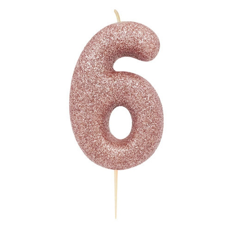Number 0 Rose Gold Glitter Candle Birthday Candles