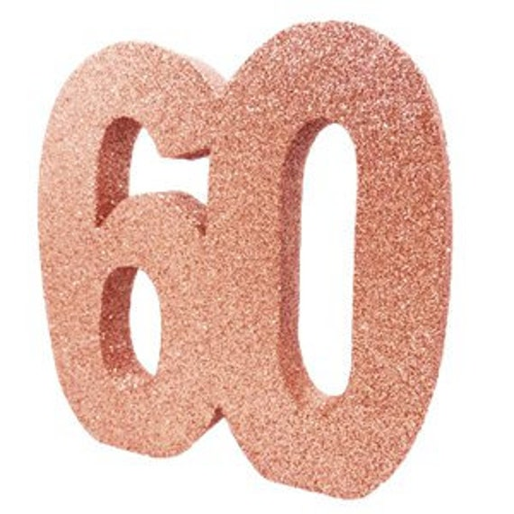 Rose Gold Glitter 60th Birthday Party Table Decoration