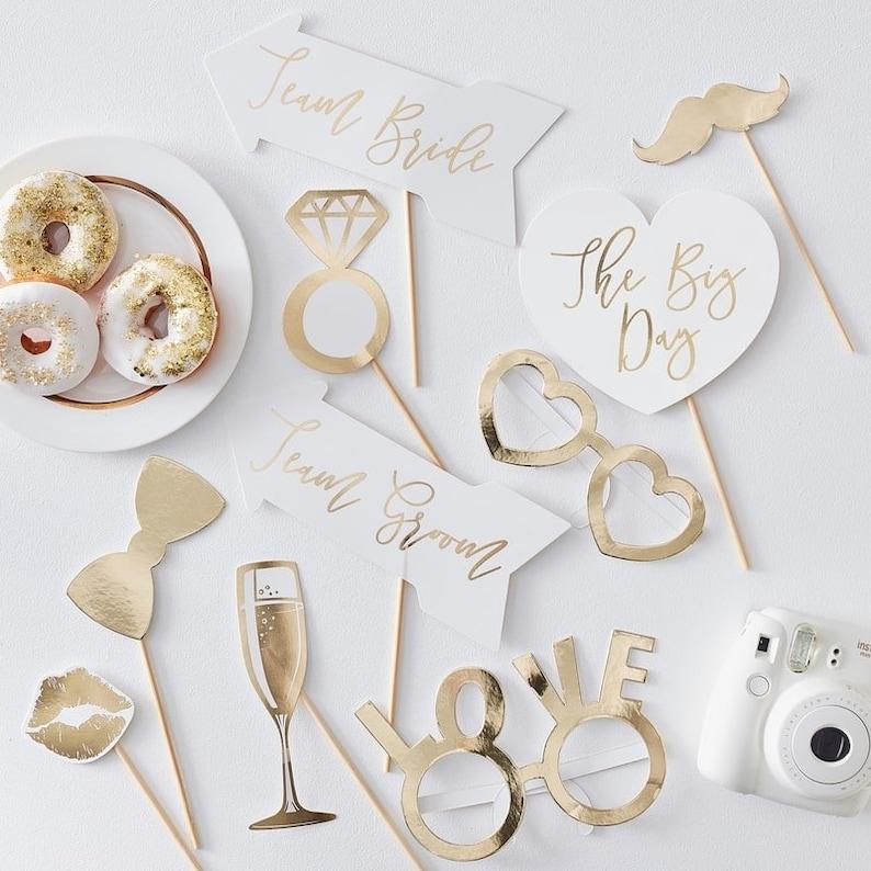 Gold Wedding Decor Wedding Reception Party Accessories 10 Gold Wedding Photo Props Gold Wedding Party Photo Booth Props