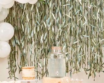 Artificial Willow Foliage Backdrop, Greenery Photo Booth Backdrop, Botanical Baby Shower Photo Backdrop, Neutral Baby Shower, Gender Reveal