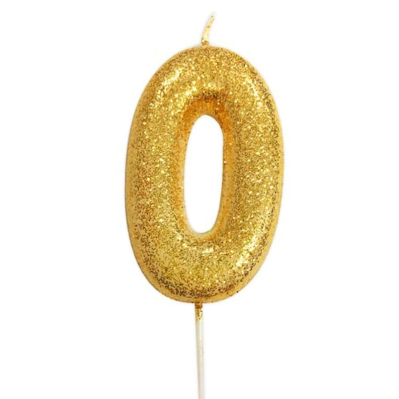 Number 0 Gold Glitter Candle Birthday Candles