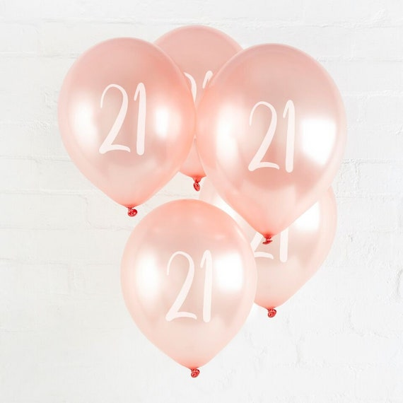 5 Rose Gold 21st Birthday Balloons Twenty First