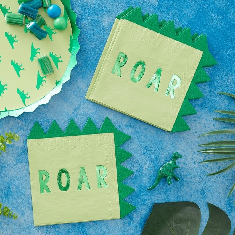 16 Dinosaur Party Napkins Birthday Party Dinosaur Birthday image 0
