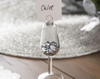 4 Silver Wine Glass Snow Globe Place Card Holders, Christmas Place Cards, Xmas Place Cards, Christmas Bauble Place Card Holders