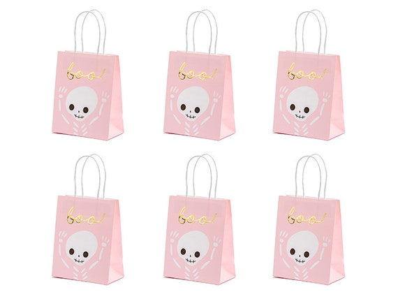 Halloween Favour Bags Pink Skeleton Bags 6 Halloween Treat Bags Halloween Party Bags Halloween Decorations Pink /'boo/' Bags