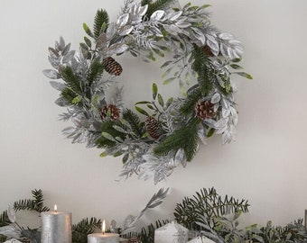 Silver Mistletoe Pine Foliage Christmas Wreath, Christmas Decorations, Rustic Christmas Garlands, Mantelpiece and Fireplace Decoration