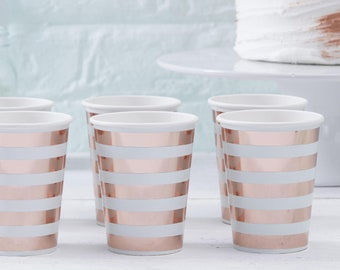 8 Mint & Rose Gold Paper Cups, Hello World Baby Shower Decorations, Neutral Baby Shower, Gender Reveal, New Baby Party, New Arrival