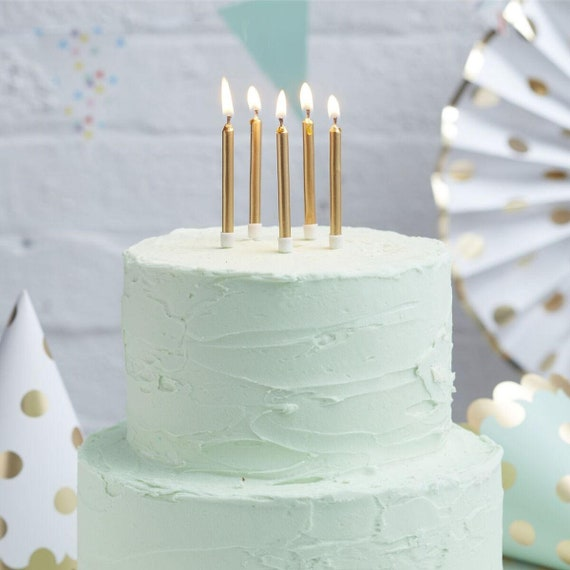 24 Metallic Gold Candles Party Birthday Cake