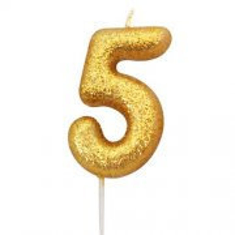Number 5 Gold Glitter Candle 5th Birthday