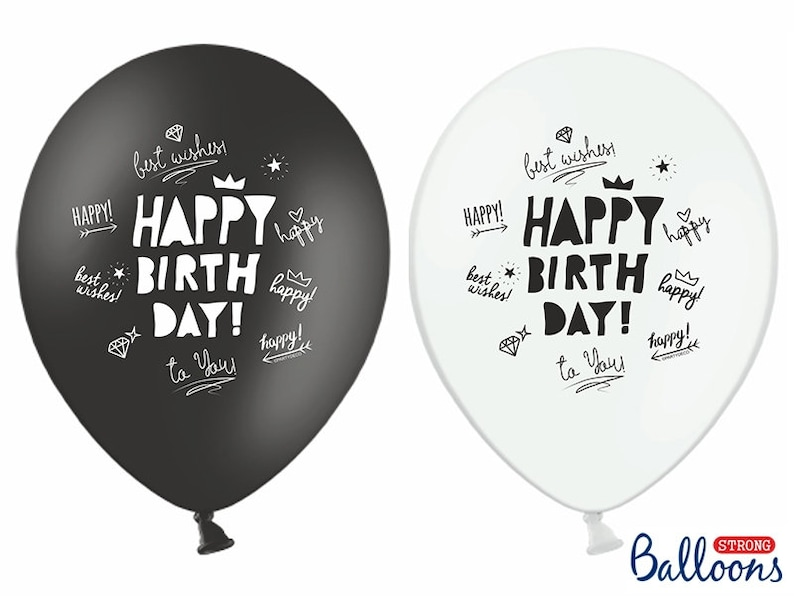 10 Happy Birthday Balloons Black And White Party