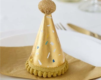 Gold Fabric Party Hat, Birthday Party Hats, Gold Party Hats, Fun Photo Booth Props ,Girls Birthday Party, Children's Party Hats, Party Hats