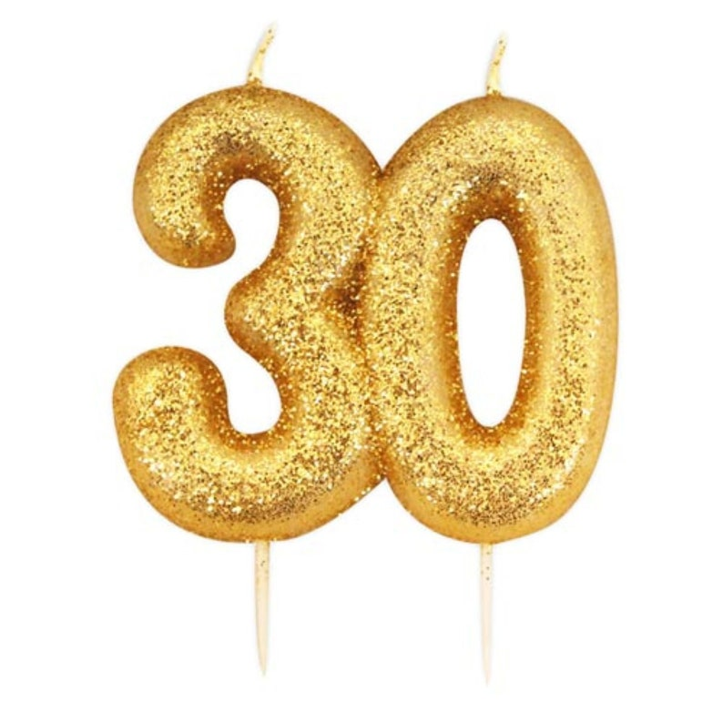 Number 30 Gold Glitter Candle 30th Birthday