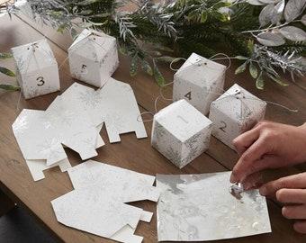 Silver Snowflake Advent Boxes, Christmas Advent Calendar Kit, Countdown to Christmas, Christmas Advent Calendar, Create Your Own Advent Kit