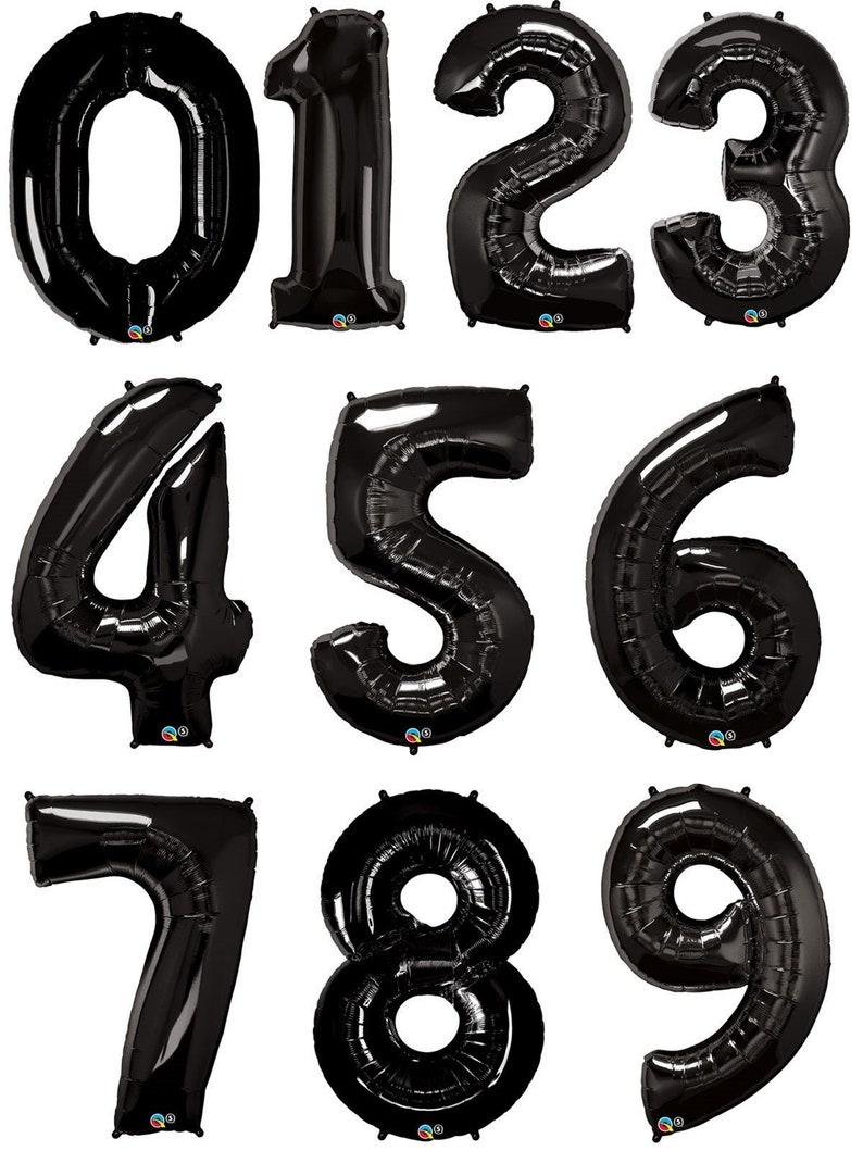 34 PartyEtsy Black Balloons Number Birthday MVSUzp