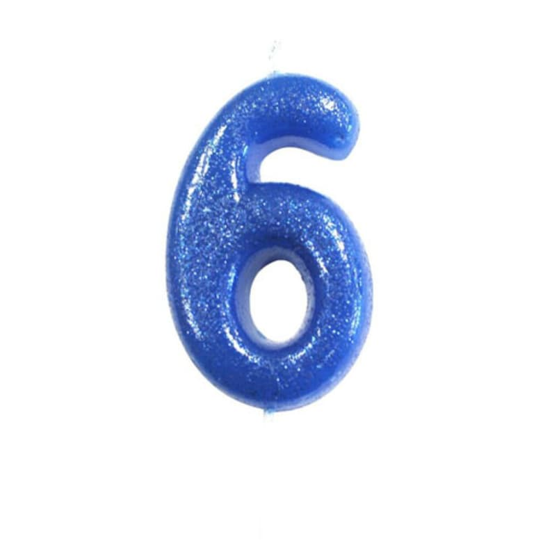 Number 6 Blue Glitter Candle Birthday Candles