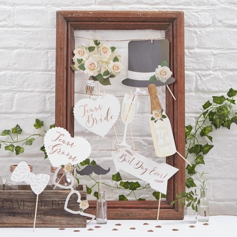 10 Wedding Photo Props Wedding Photo Booth Table Photo image 0