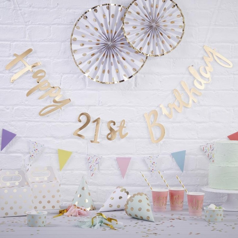 Gold Happy 21st Birthday Banner Bunting Party Decorations