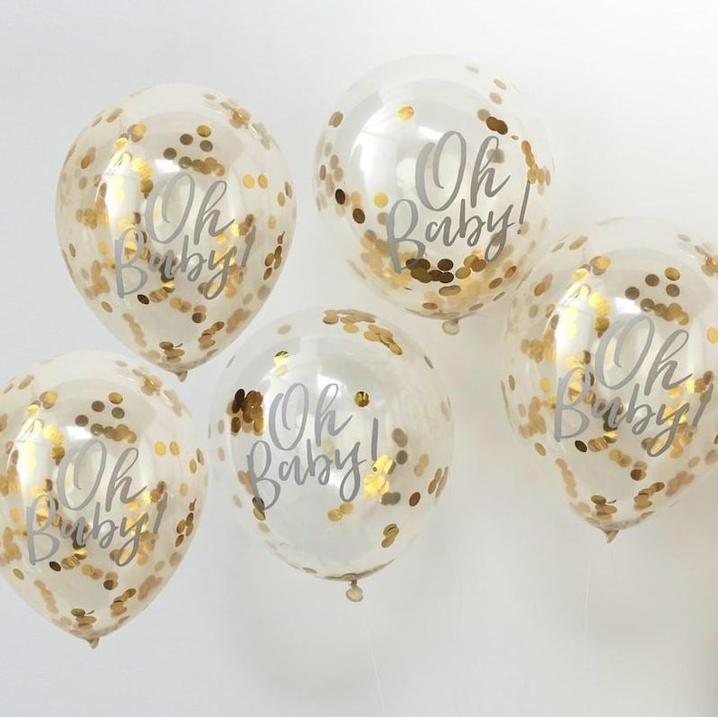 5 Gold Confetti Oh Baby Balloons Baby Shower Neutral Baby image 0