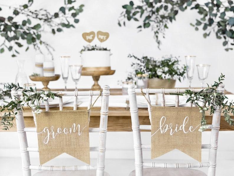 Stuhlschilder für Braut und Bräutigam