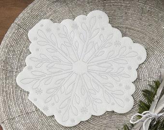 16 Silver White Snowflake Christmas Napkins, Silver Christmas Decorations, Christmas Party Napkins, New Year Party Napkins,