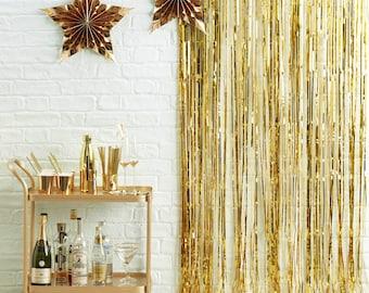 Gold Foil Fringe Curtain Decoration, Photo Booth Backdrop, Birthday Photo Backdrop, Wedding Photo backdrop, Festive Backdrop