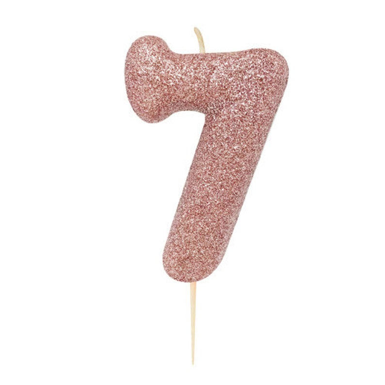 Number 7 Rose Gold Glitter Candle 7th Birthday