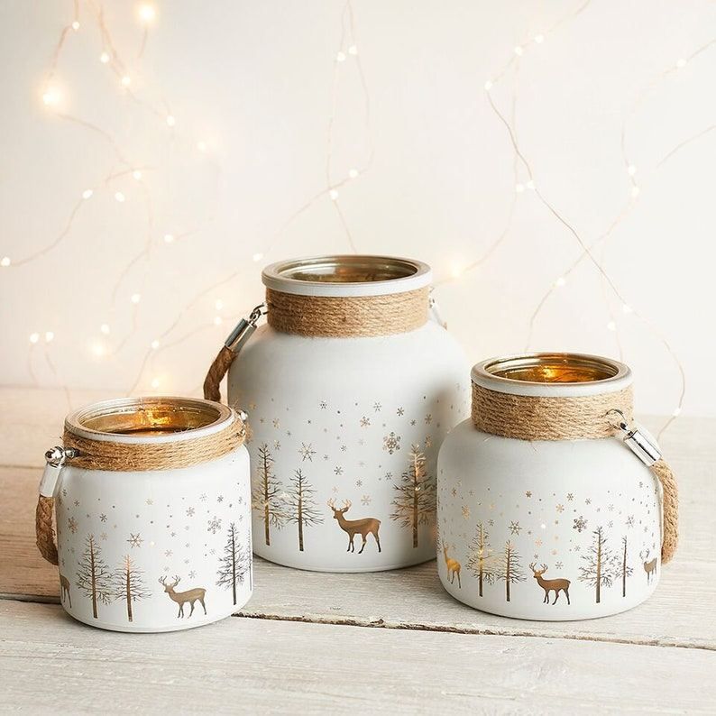 3 Christmas Candle Holders Tea Light Holders Rustic image 0