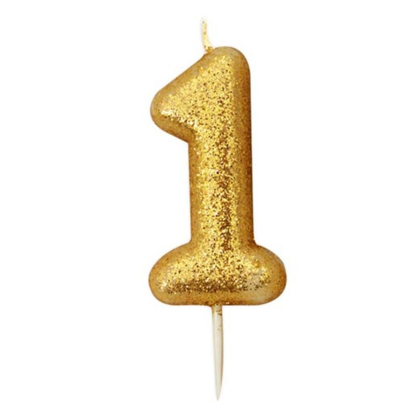 Number 1 Gold Glitter Candle 1st Birthday Candles