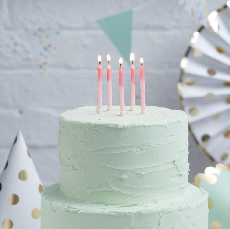 24 Pink Ombre Candles Birthday Cake Girls
