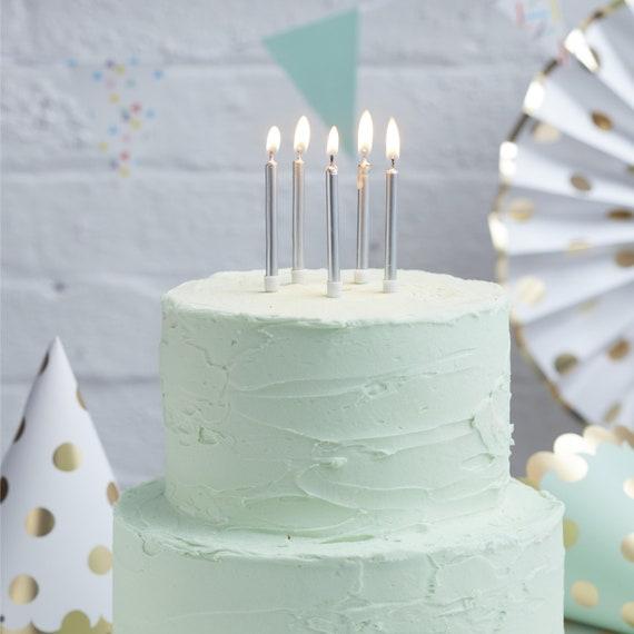Argent métallisé anniversaire gâteau bougies x 12