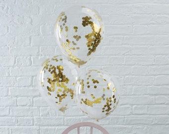 5 Gold Confetti Balloons, Clear Balloons, Gold Baby Shower, Hen Party Balloons, Gold Wedding Decor, Girl, Boy, Birthday Party Balloons