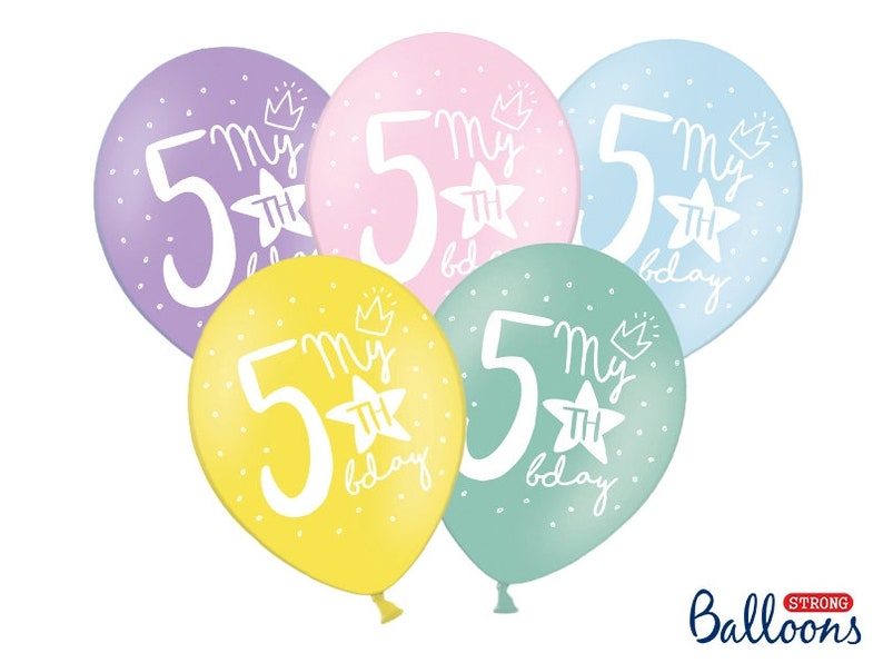 10 Pastel 5th Birthday Balloons Rainbow
