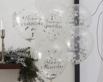 5 Silver Christmas Confetti Balloons, Christmas Decorations, Festive Balloons, Seasonal Balloons, Christmas Party Decorations