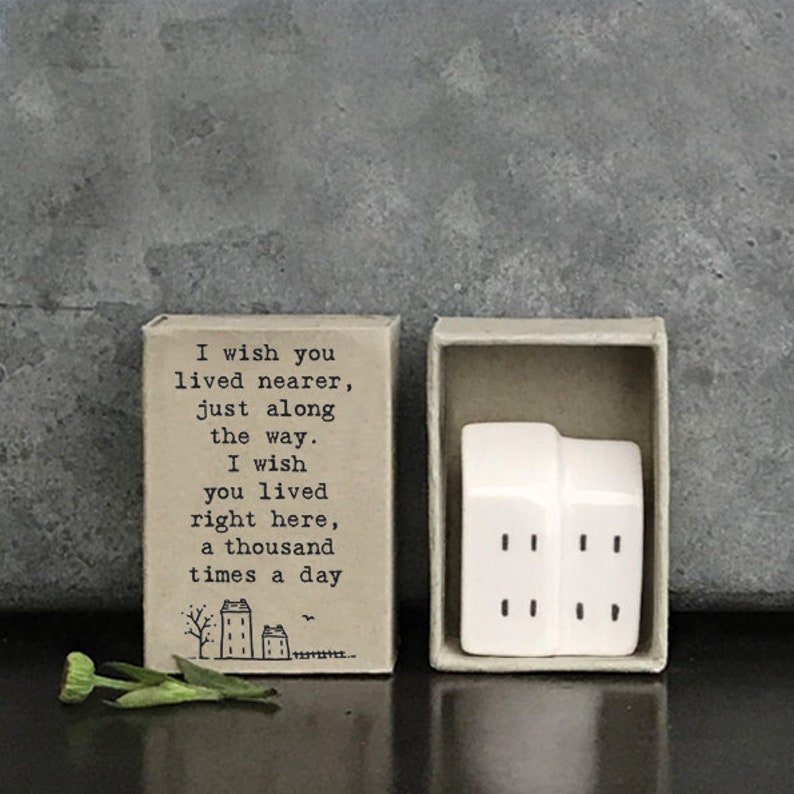 Birthday Gift East of India Matchbox House Friendship Gift Porcelain Matchbox Gift Wedding Keepsake