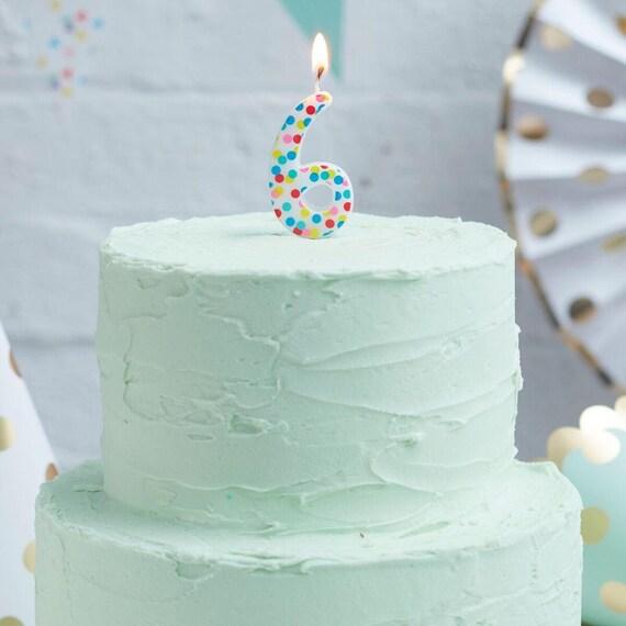 Nummer 6 Regenbogen Kerze Fleckig Geburtstagskerzen Etsy