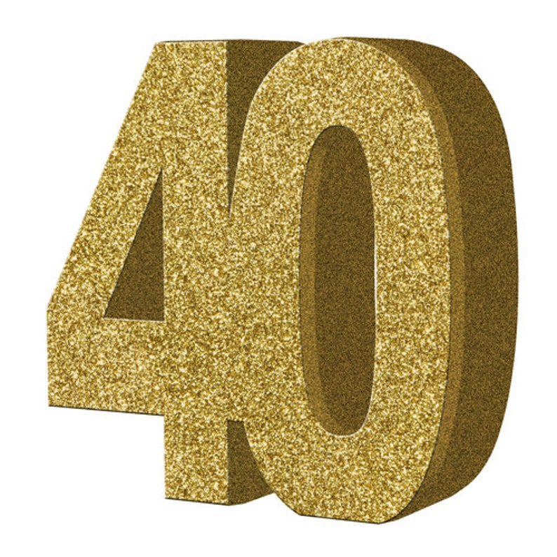 Gold Glitter 40th Birthday Party Table Decoration 40