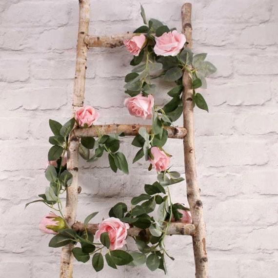 2pcs Pink Rose Flower Wreath Heart  Garland Arrangment 13inch Wedding