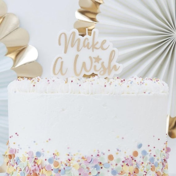 Gold Make A Wish Candle Glitter Birthday Cake