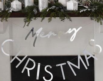 Silver Acrylic Merry Christmas Bunting, Christmas Decorations, Silver Merry Christmas Bunting, Merry Christmas Garland, Festive Decoration