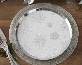 8 Silver Snowflake Christmas Plates, Christmas Party Plates, Silver Christmas Plates, Holiday Season Plates, 8 Pack