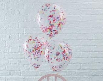 5 Rainbow Confetti Balloons, Clear Balloons, Neutral Baby Shower, Girl, Boy, Birthday Party Balloons, Wedding Decor, Hen Party, Tea Party