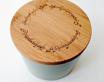 Tolkien The One Ring inscription stoneware canister, laser engraved on bamboo lid