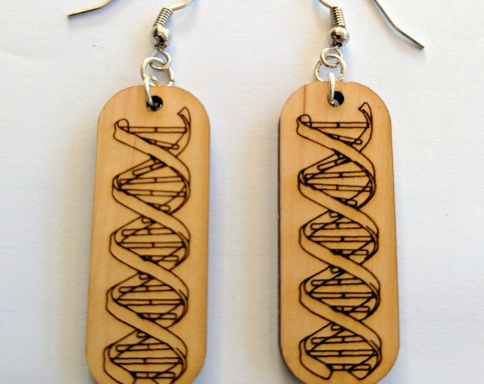 DNA Double Helix bamboo earrings, laser engraved, with sterling silver plated hooks.