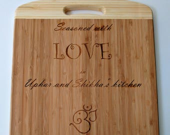 Custom personalised laser engraved wood chopping board