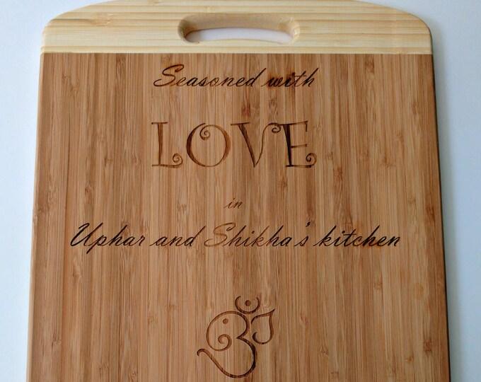 Custom personalised laser engraved wood chopping board