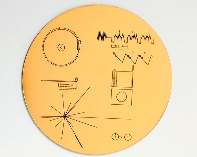 NASA Voyager Golden Record sticker. Laser engraved. Great for decorating your laptop, notebook, or car bumper